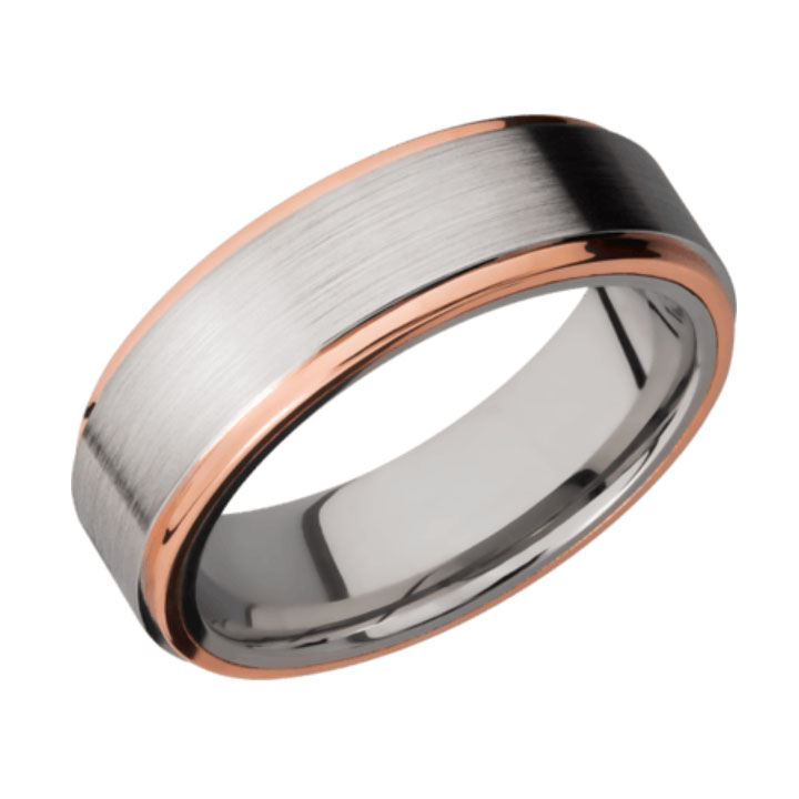 Cobalt Chrome Wedding Ring Rose Gold Edges