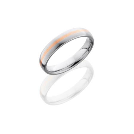 Cobalt Chrome Wedding Ring with 14K Rose Gold Inlay