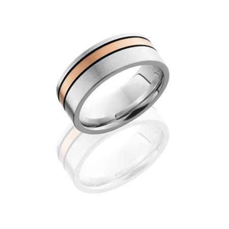 Cobalt Chrome Wedding Ring with 14K Rose Gold Off Center Stripe
