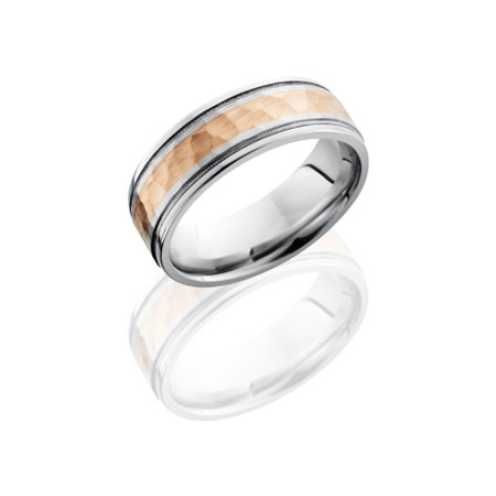 Cobalt Chrome Wedding Ring with 14K Rose Gold Inlay and Milgrain