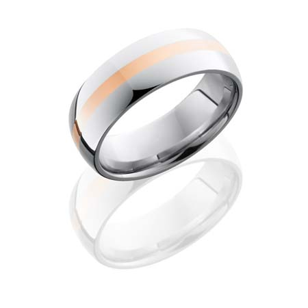 Cobalt Chrome Wedding Ring with 14K Rose Gold Stripe
