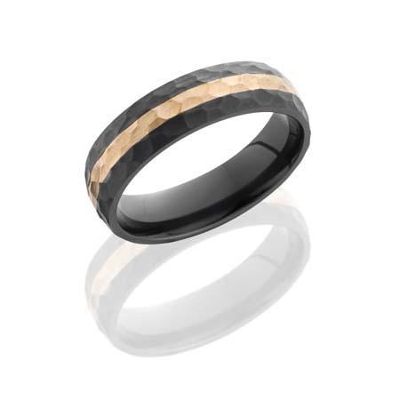 Hammered Black Zirconium Wedding Ring with 14K Rose Gold Stripe