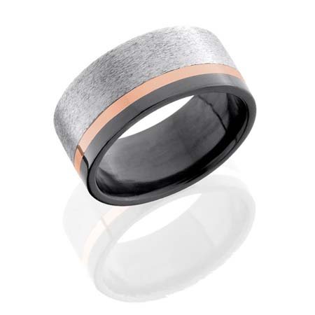 Wide Black Zirconium Wedding Ring with Off-Center 14K Rose Inlay