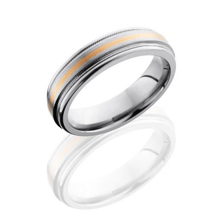 Titanium Wedding Ring with Rose Gold Inlay