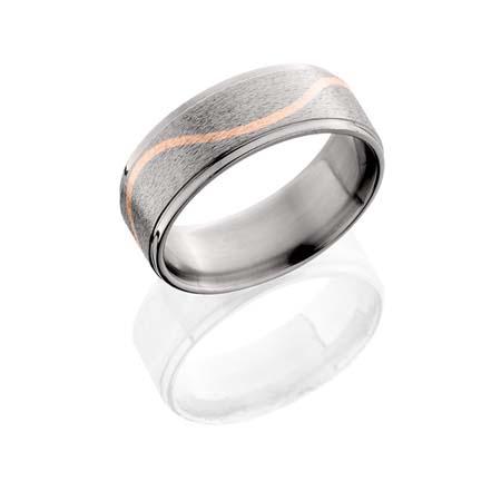 Titanium Wedding Ring with Rose Gold Wave Design