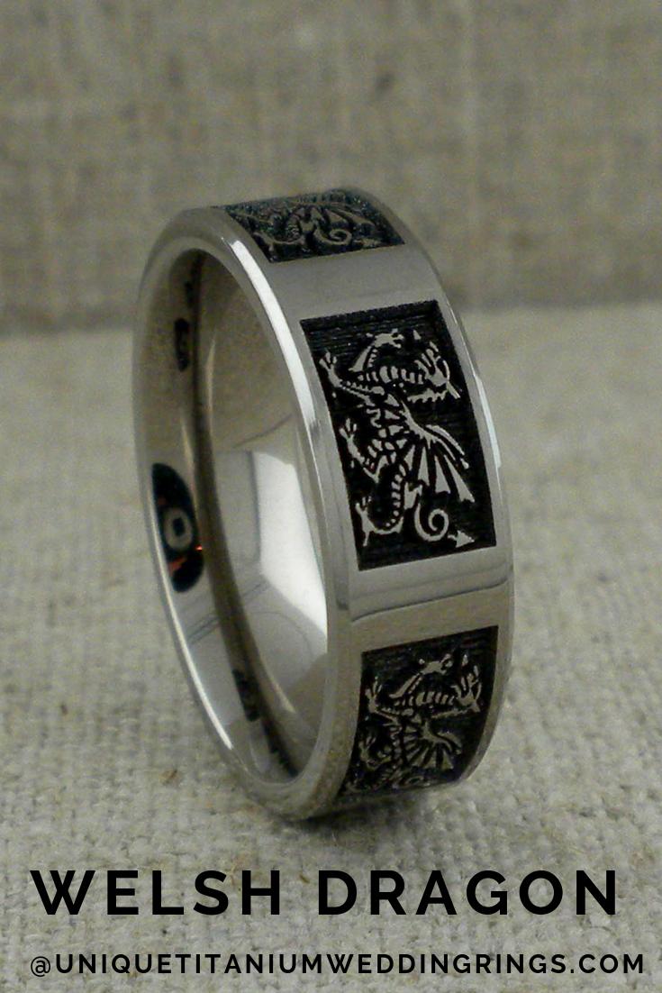 Welsh Dragon Wedding Ring in Titanium