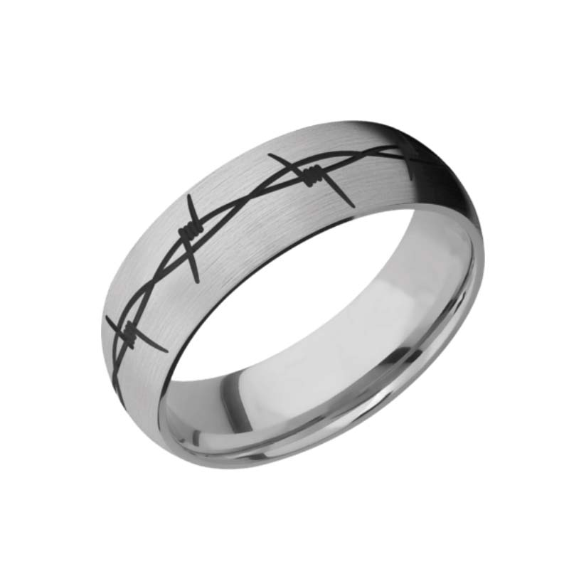 Barbed Wire Wedding Ring with Black Inlay