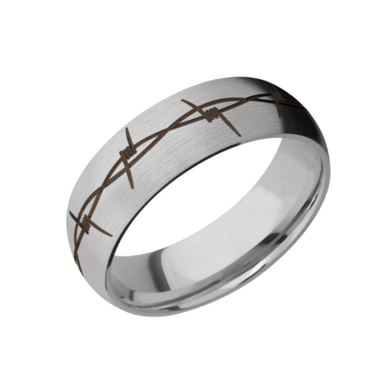 Barbed Wire Wedding Ring with Burnt Bronze Inlay
