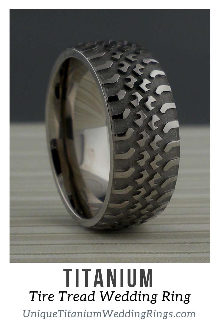 Truck Tire Wedding Ring in Titanium