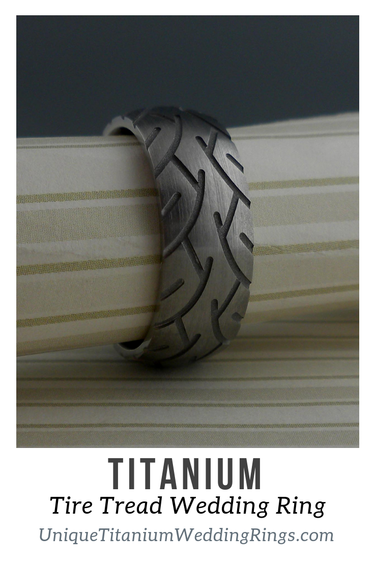 Motorcycle Tire Tread Wedding Ring by Lashbrook Designs