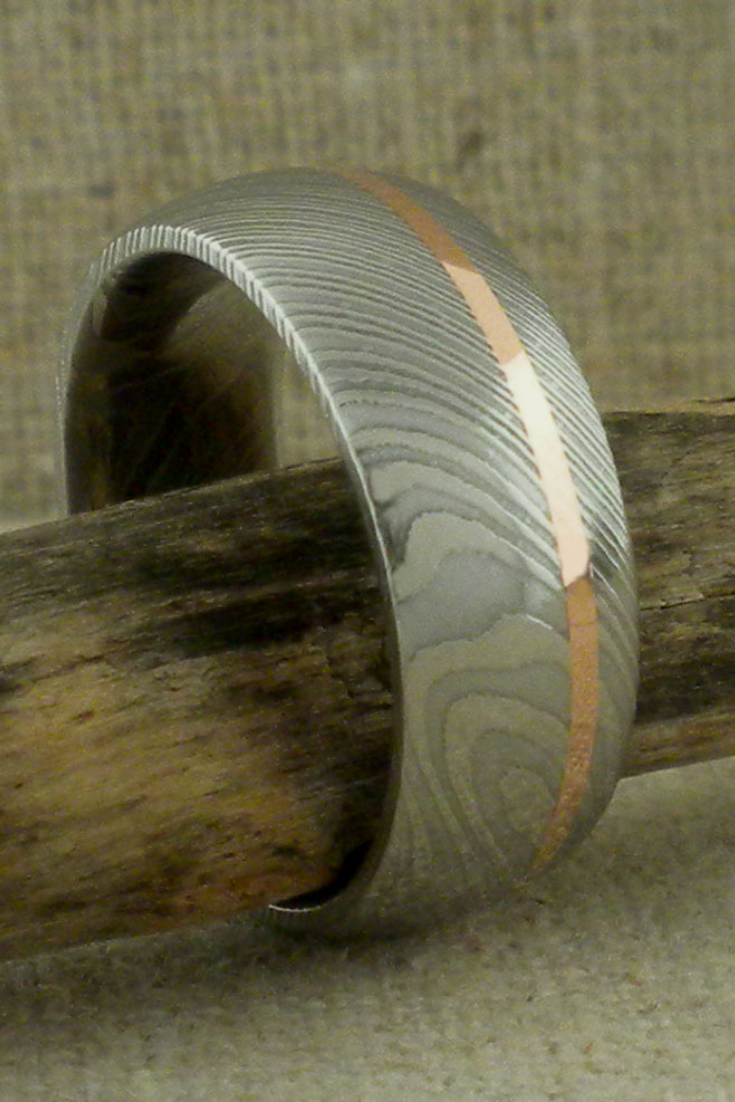 Damascus Steel with Rose Gold Inlay