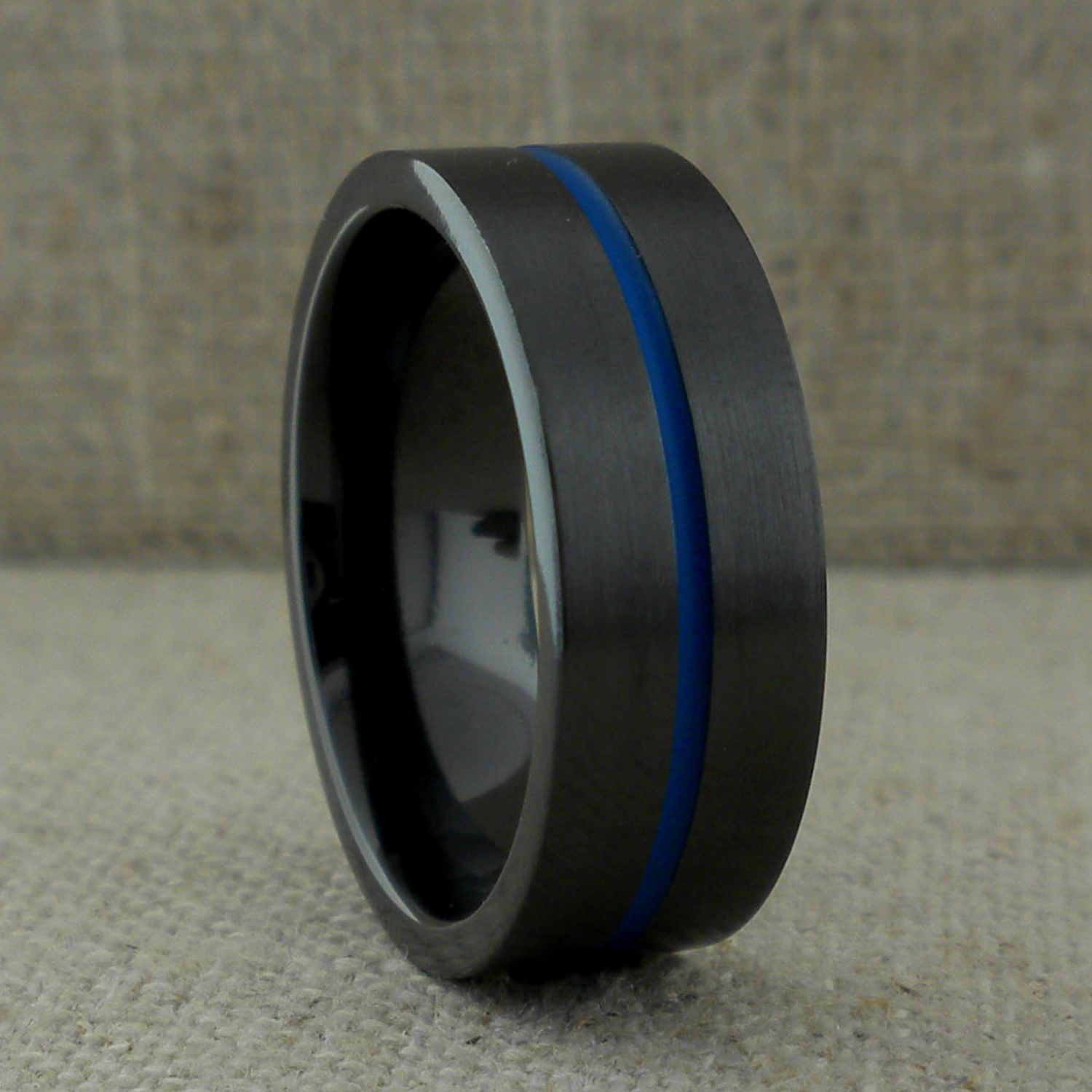 Thin Blue Line Wedding Ring with Satin Finish