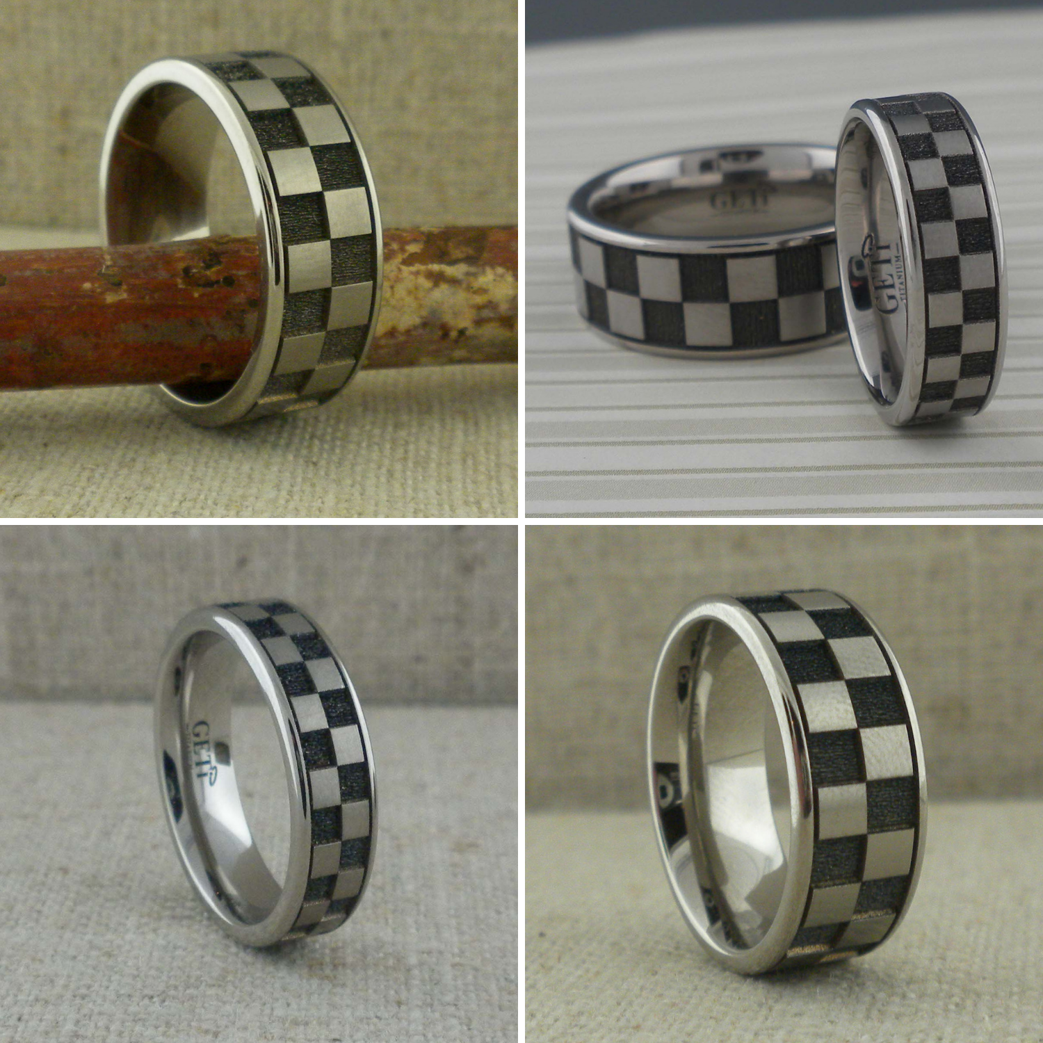 Checkered Flag Wedding Ring in Titanium by GETi