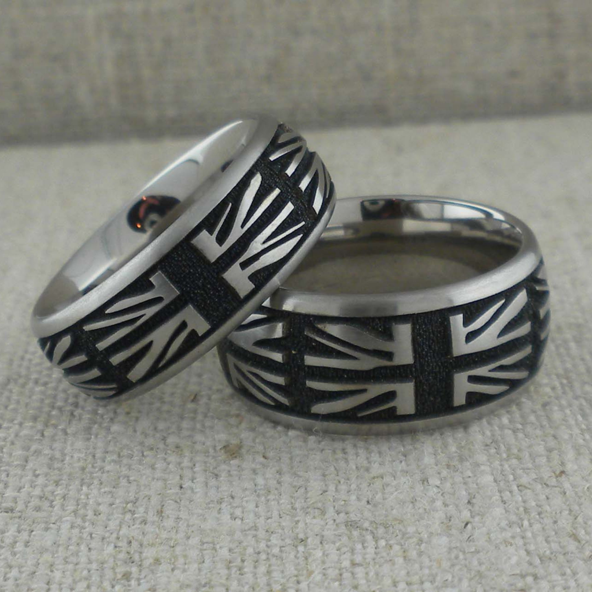 7 mm and 8 mm Union Jack Wedding Ring