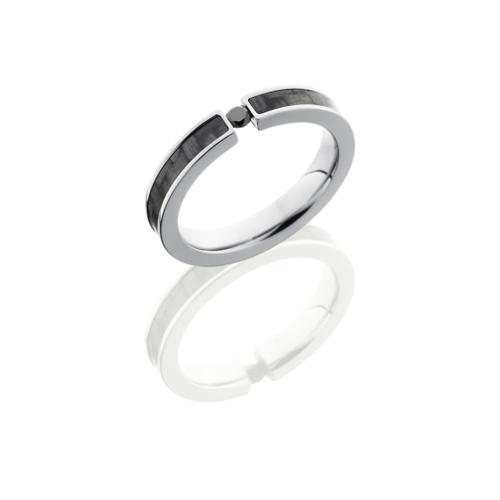 Titanium and Carbon Fiber Wedding Ring with Black Diamond