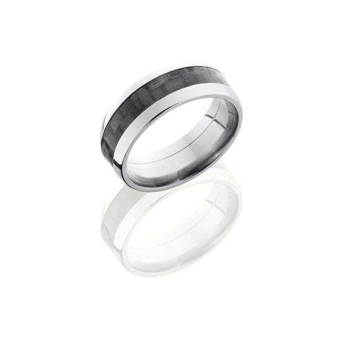 Domed Carbon Fiber and Titanium Wedding Ring
