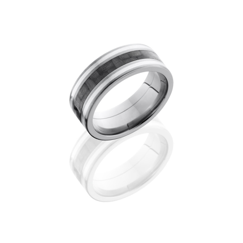 Titanium & Carbon Fiber with Sterling Silver Wedding Ring