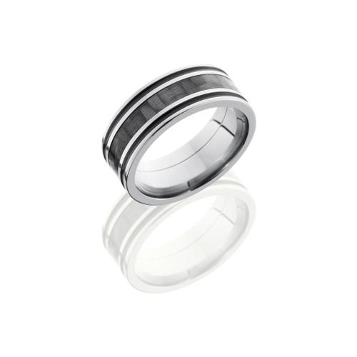 Titanium & Carbon Fiber Wedding Ring with Antique Grooves