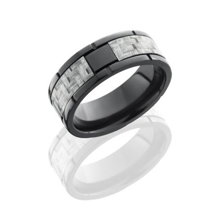 Black Zirconium and Silver Carbon Fiber Segmented Wedding Ring