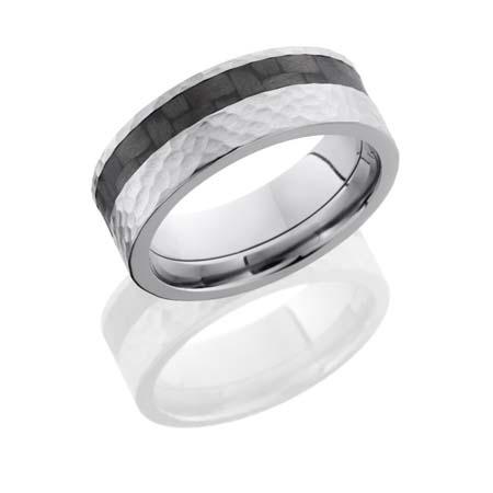 Titanium and Carbon Fiber Wedding Ring with Hammer Finish