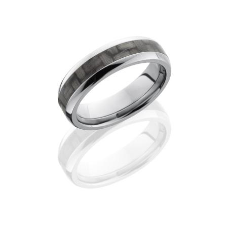 Domed Titanium and Carbon Fiber Wedding Ring