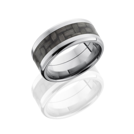 Wide Carbon Fiber and Titanium Wedding Ring with Beveled Edge