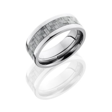 Silver Carbon Fiber and Titanium Wedding Ring