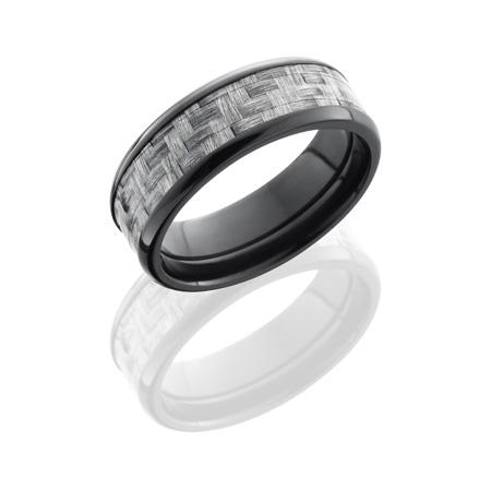 Black Zirconium and Silver Carbon Fiber Wedding Ring
