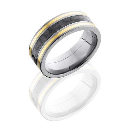 Carbon Fiber Wedding Ring with 14K Yellow Gold Inlay