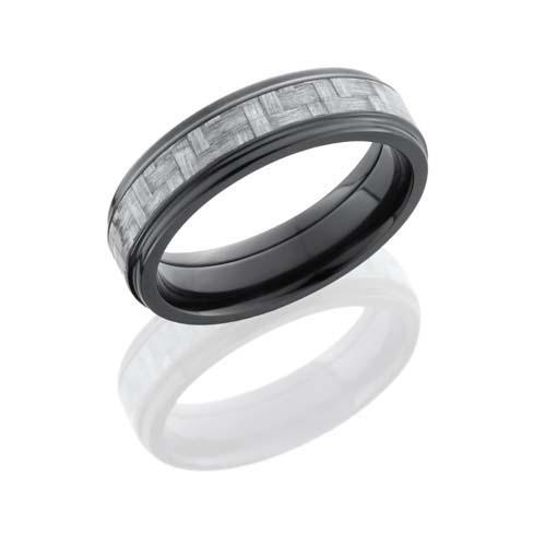Black Zirconium Wedding Ring with Silver Carbon Fiber Inlay