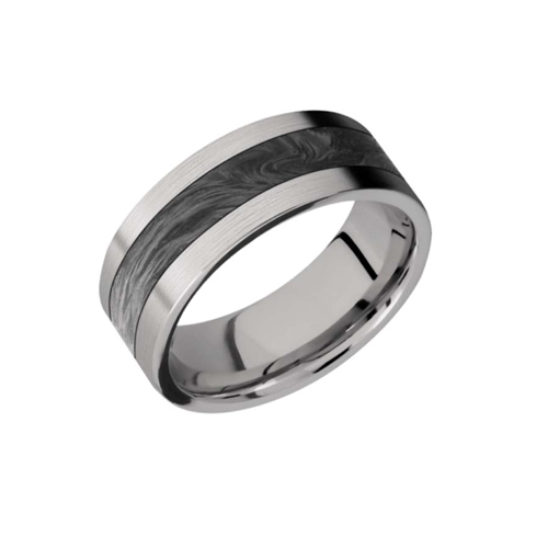 Titanium With Forged Carbon Fiber Inlay Wedding Ring
