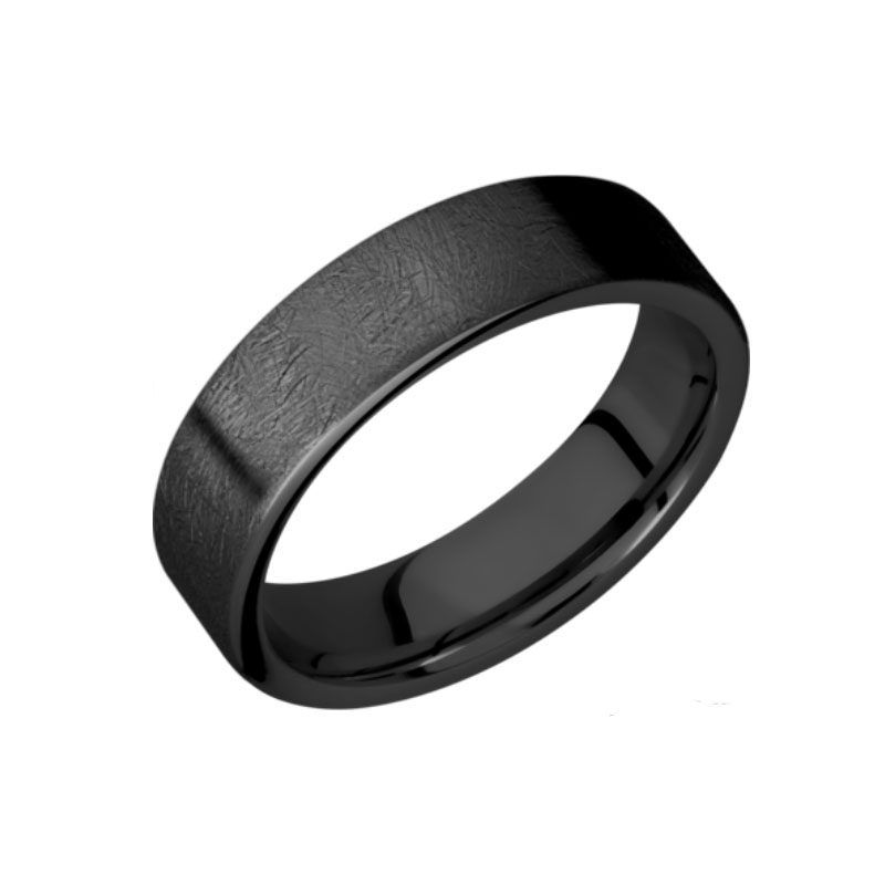 6 mm Black Wedding Ring with Distressed Finished
