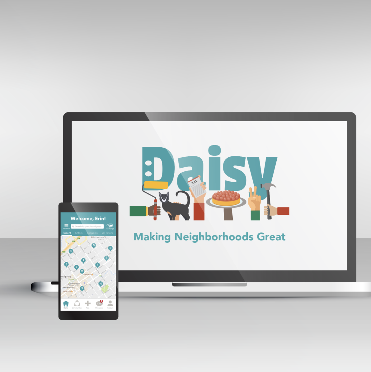 Daisy - UX research and design for neighborhood-based app