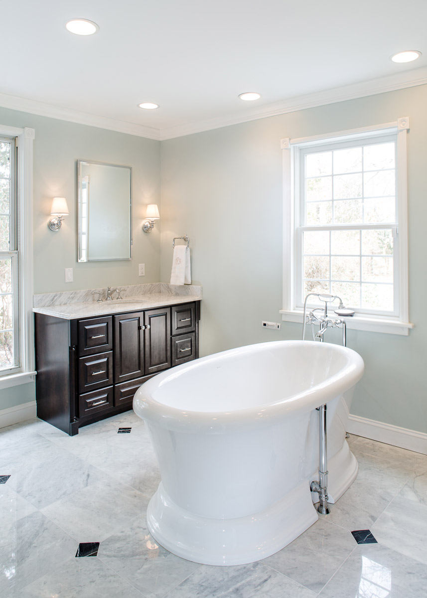 Custom Bathroom - New Plumbing, Electric, Windows, Custom Tile Floor with Heating
