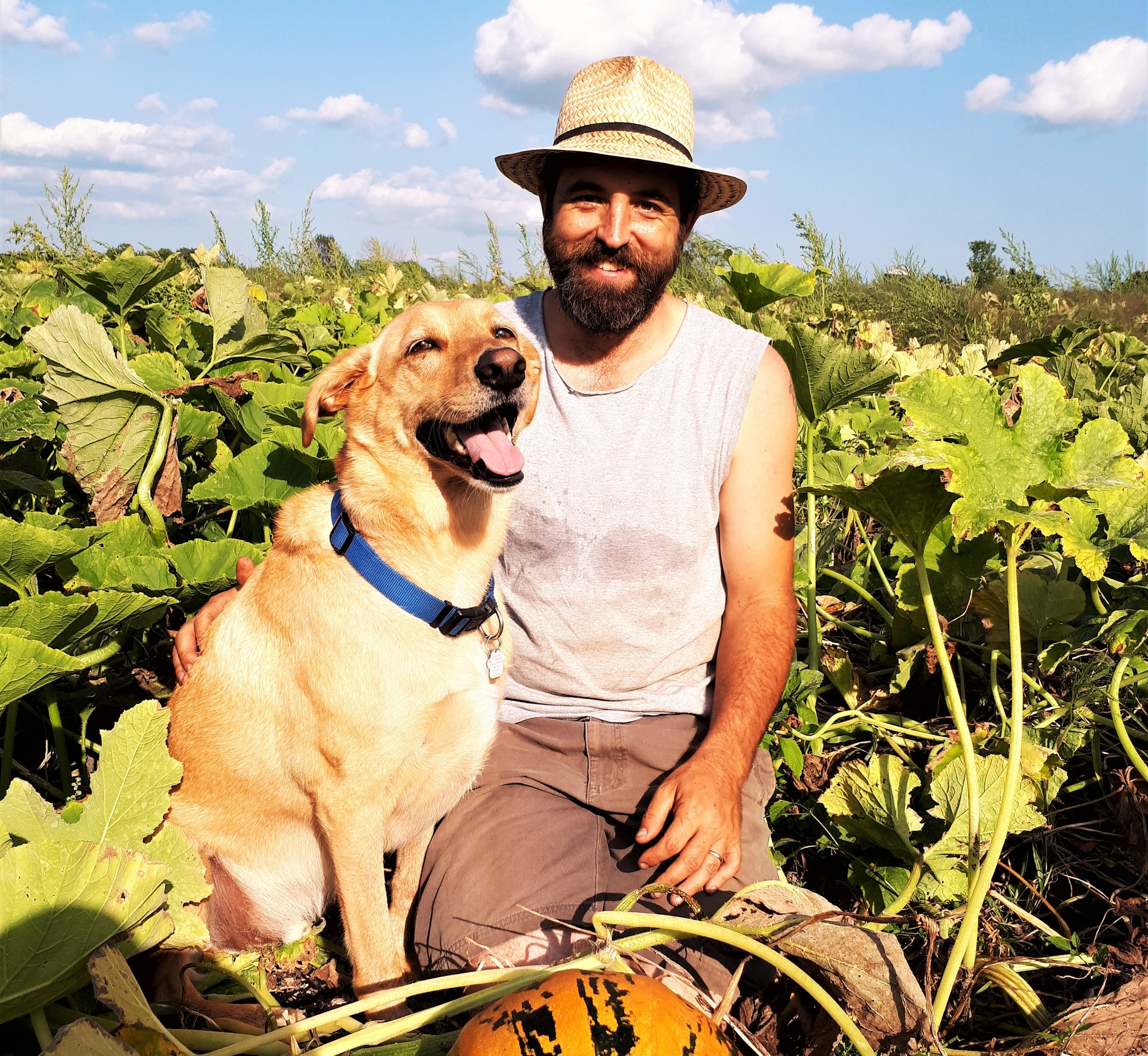 John in the pumpkin patch with Onion, our happy yellow dog.
