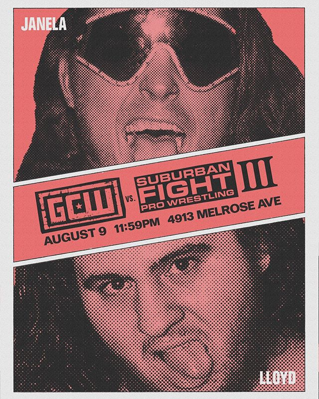NO RING: GCW vs Suburban Fight 3. The Bad Boy is dropping in one last time. Janela vs. Lloyd. Midnight after GCW, right next door to the Ukrainian Culture Center. This venue is SMALL and tickets are super limited. On sale tomorrow at noon. #suburbanfightprowrestling #sfpw #suburbanxfight #gcw #gamechangerwrestling #joeyjanela #jimmylloyd #aew #allelitewrestling #blink182 #losangeles #hollywood #wrestling #prowrestling #noring