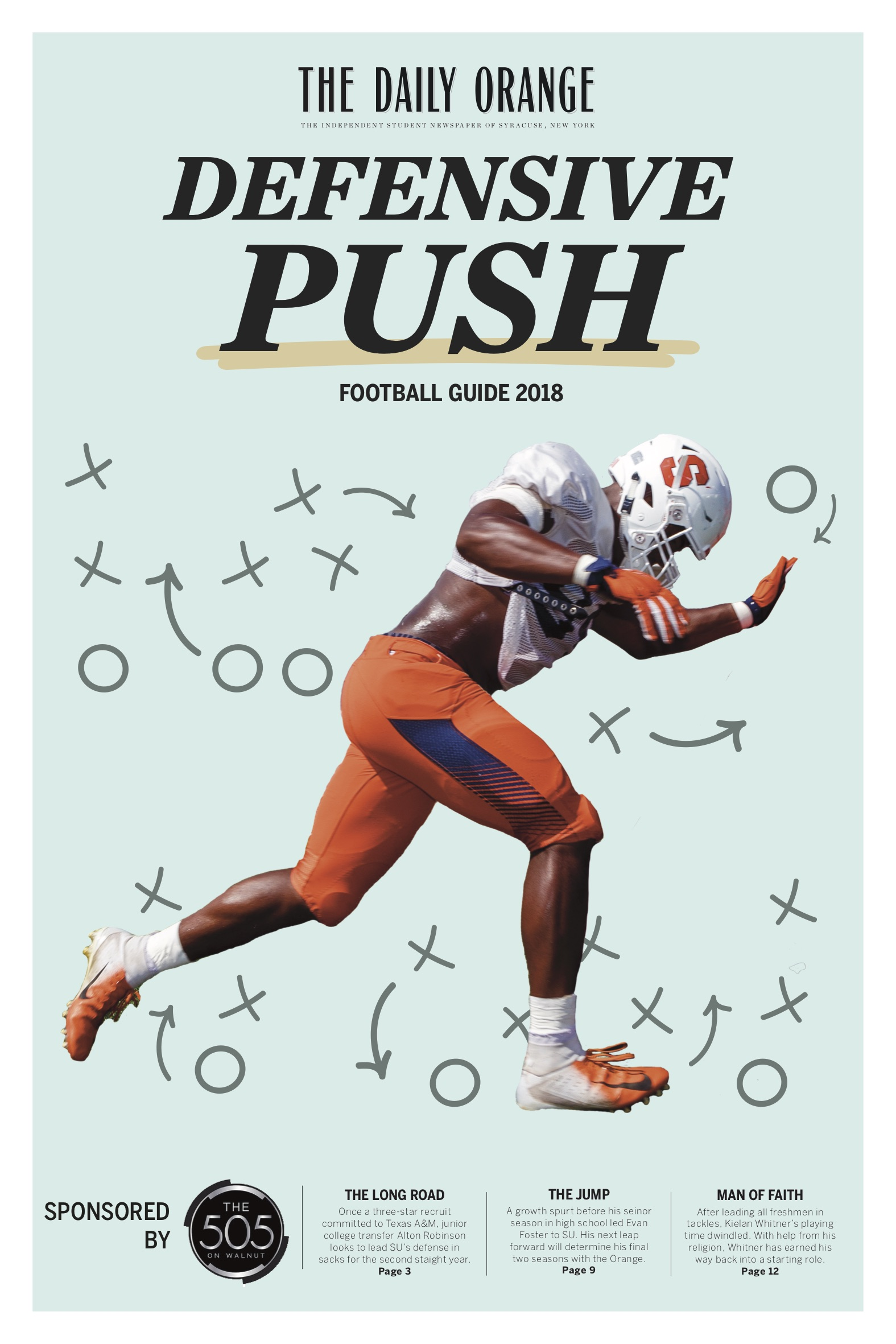 The 2018 cover for The Daily Orange's 2018 annual Football Guide.   Role : Art direction, photo illustration, page design