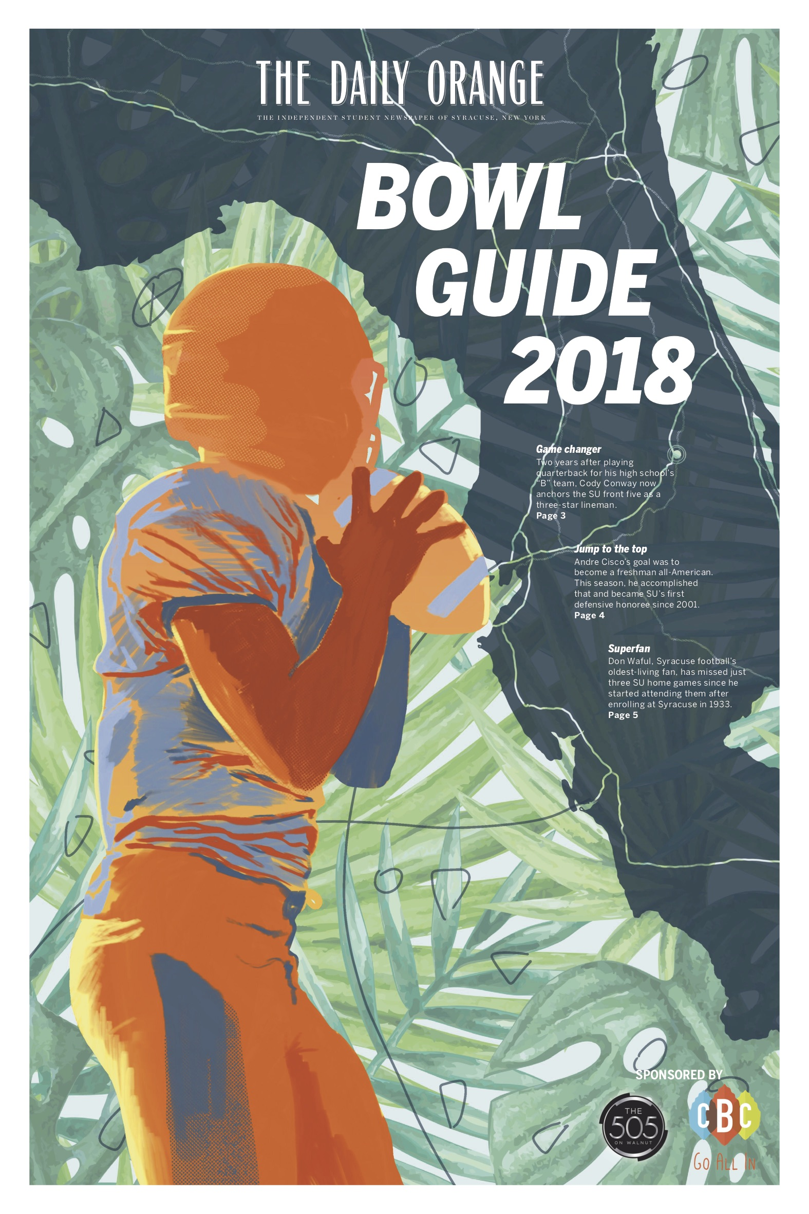 """Following SU's football team's journey to the Camping World Bowl in December 2018, The Daily Orange produced a """"bowl guide"""" that was brought by beat writers down to Orlando, FL for distribution at tailgates and in the stadium. This was a project worked on remotely between myself, our Illustration Editor, the sports staff and our management team.   Role : Branding, page design, photo selection, art direction"""