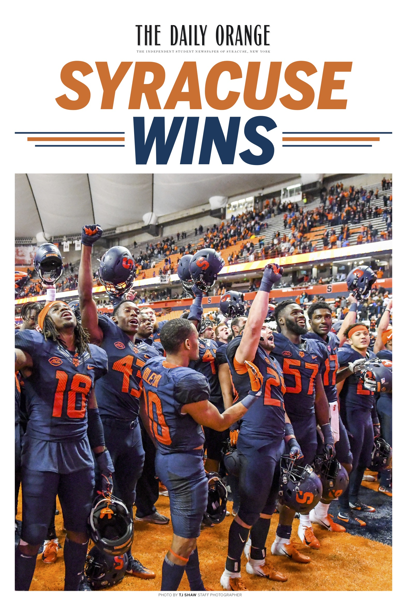"""An extra four-page """"tab"""" was also created as a souvenir should the football team have won. They were distributed to the players and their families and were shown on live TV when the Orange beat West Virginia."""