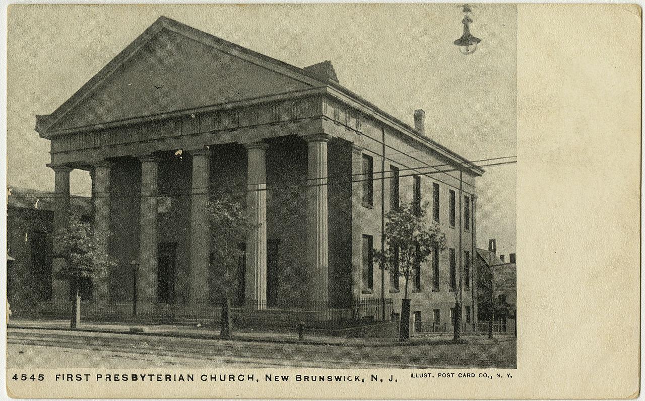 The First Presbyterian Church in New Brunswick, NJ, where Joseph Jones pastored from 1825-1838. No image of Joseph Jones has been located yet.