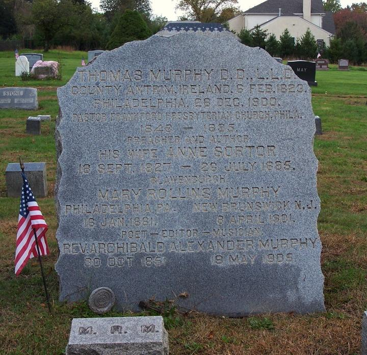 Thomas Murphy is buried at Blawenburg Cemetery, Blawenburg, Somserset, New Jersey .