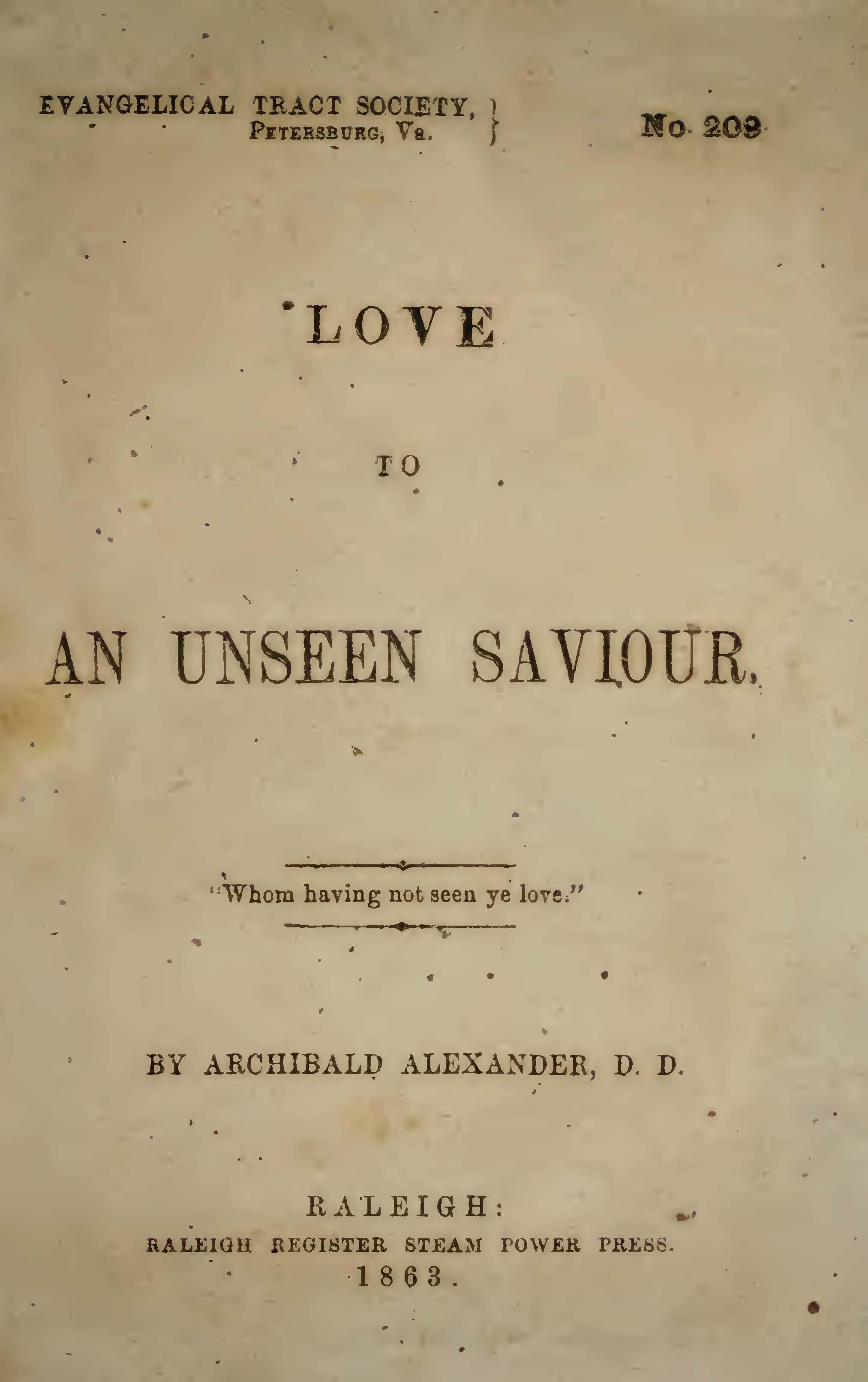 Alexander, Archibald - Love to Unseen Savior.jpg