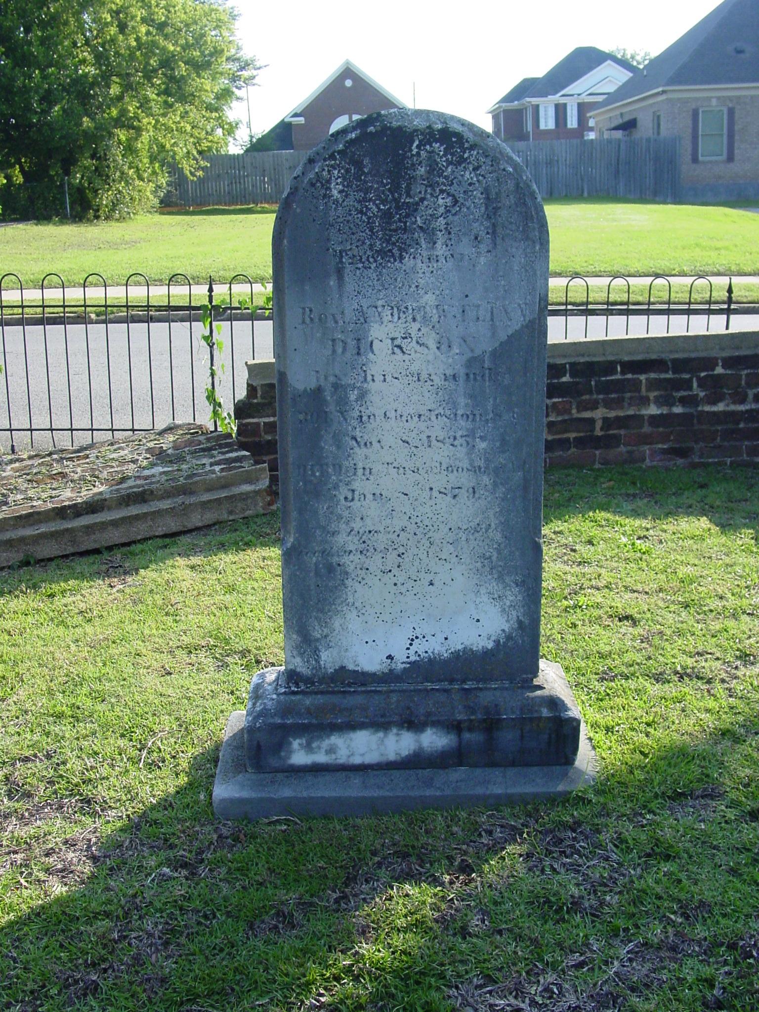 Andrew Flinn Dickson is buried at Greenwood Cemetery, Tuscaloosa, Alabama.
