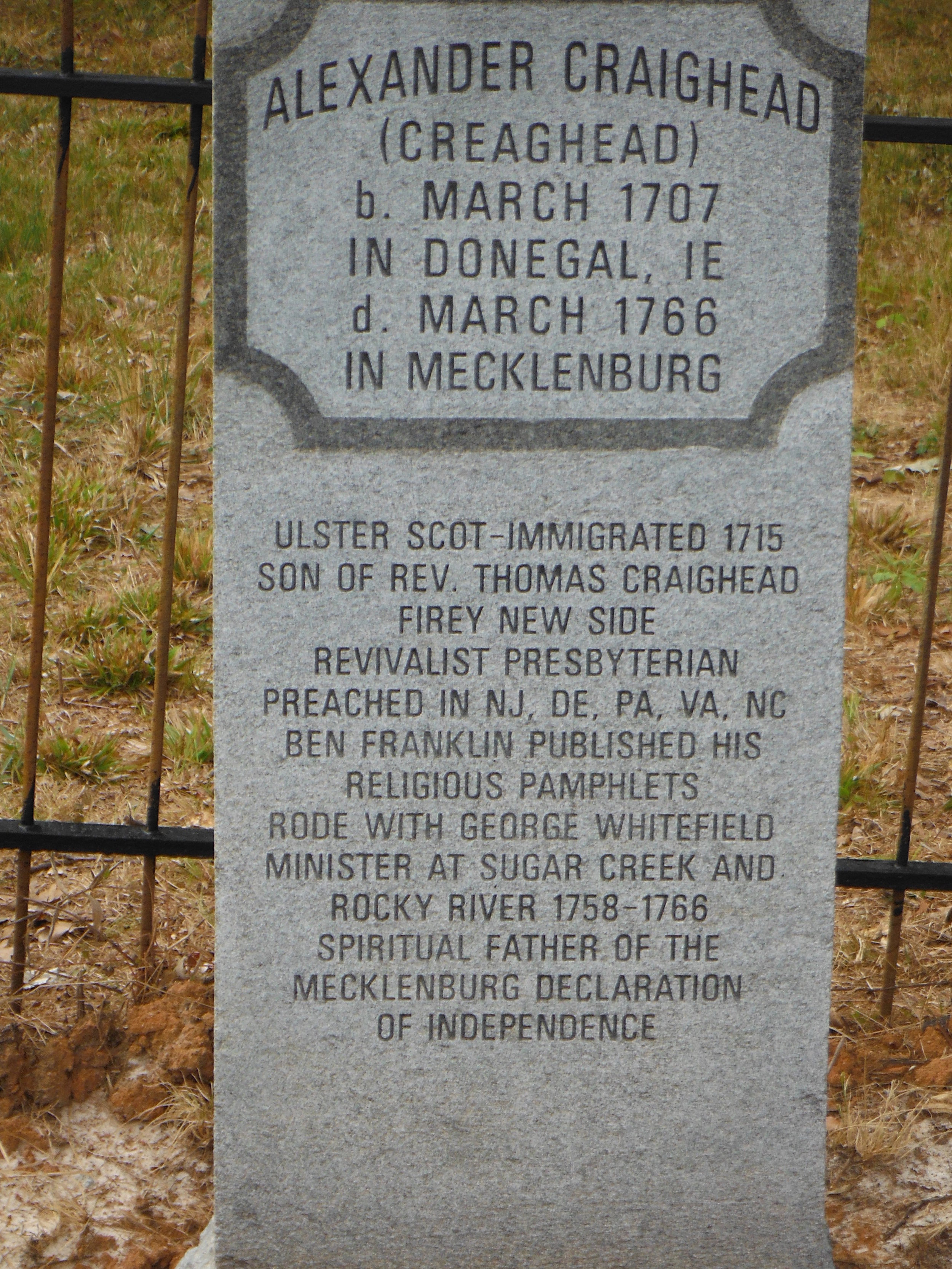 Alexander Craighead is buried at the Sugaw Creek Presbyterian Church Cemetery, Charlotte, North Carolina.