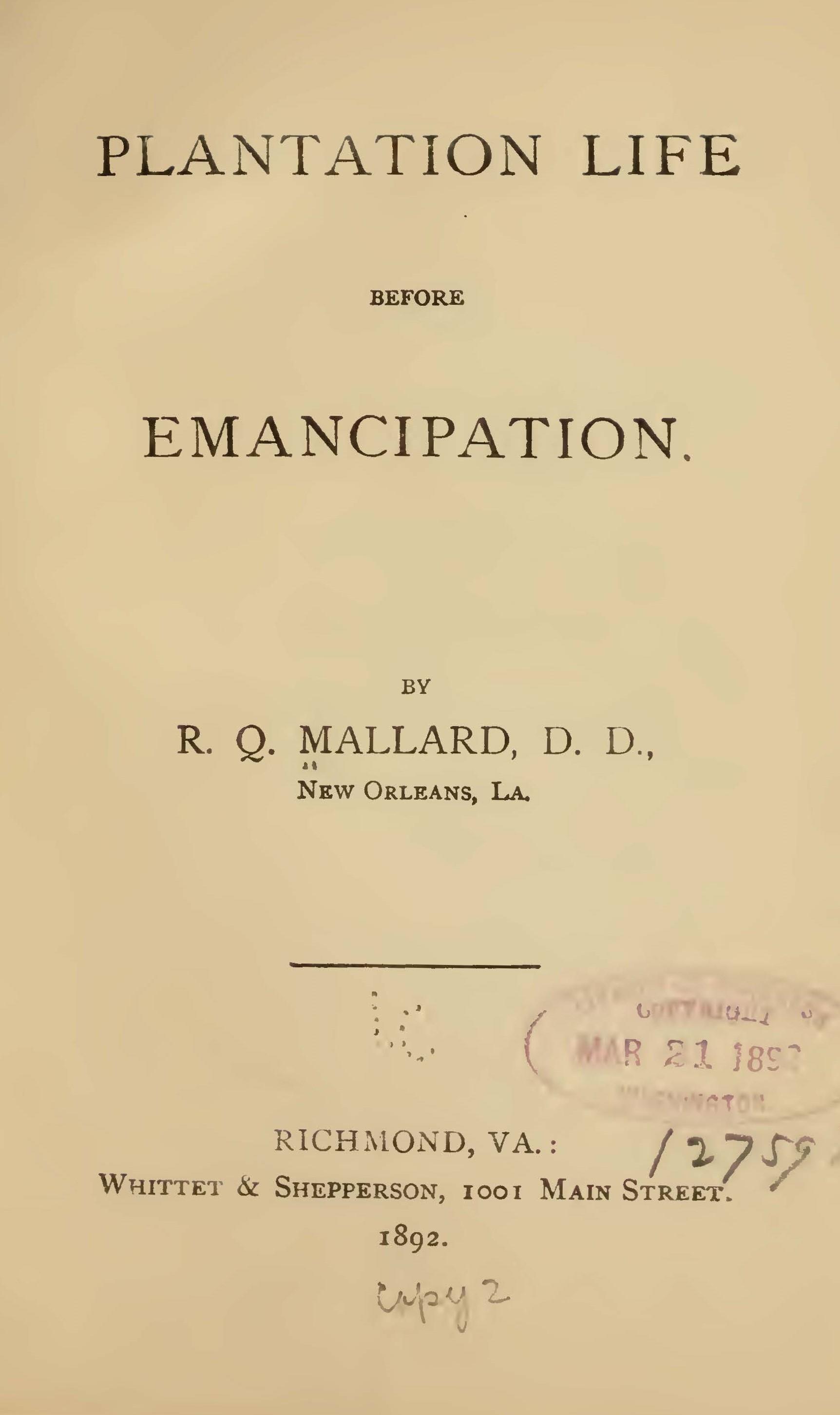 Mallard, R. Q. - Plantation Life Before Emancipation.jpg