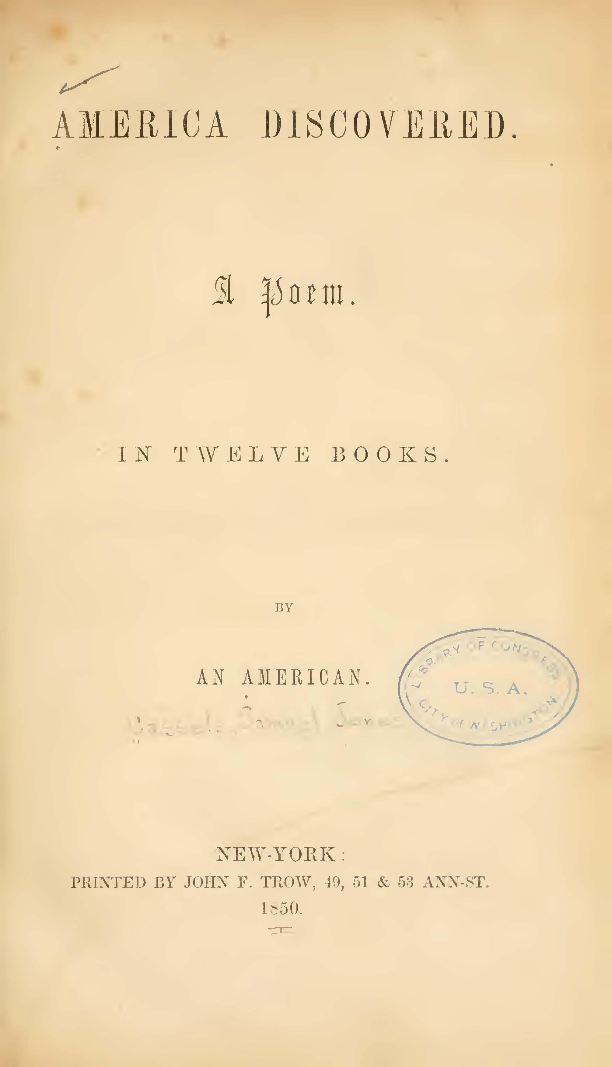 Cassells, Samuel J., America Discovered Title Page.jpg