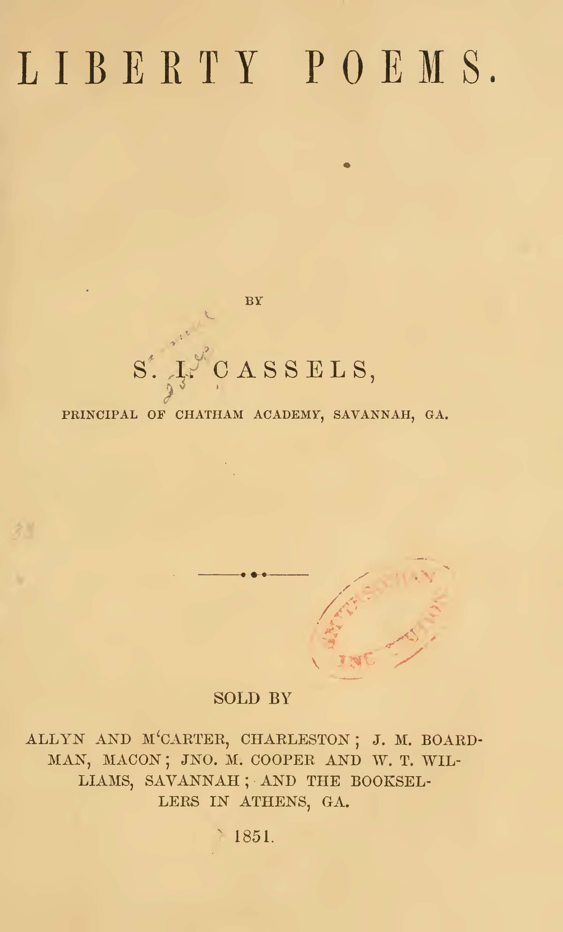 Cassells, Samuel J., Liberty Poems Title Page.jpg