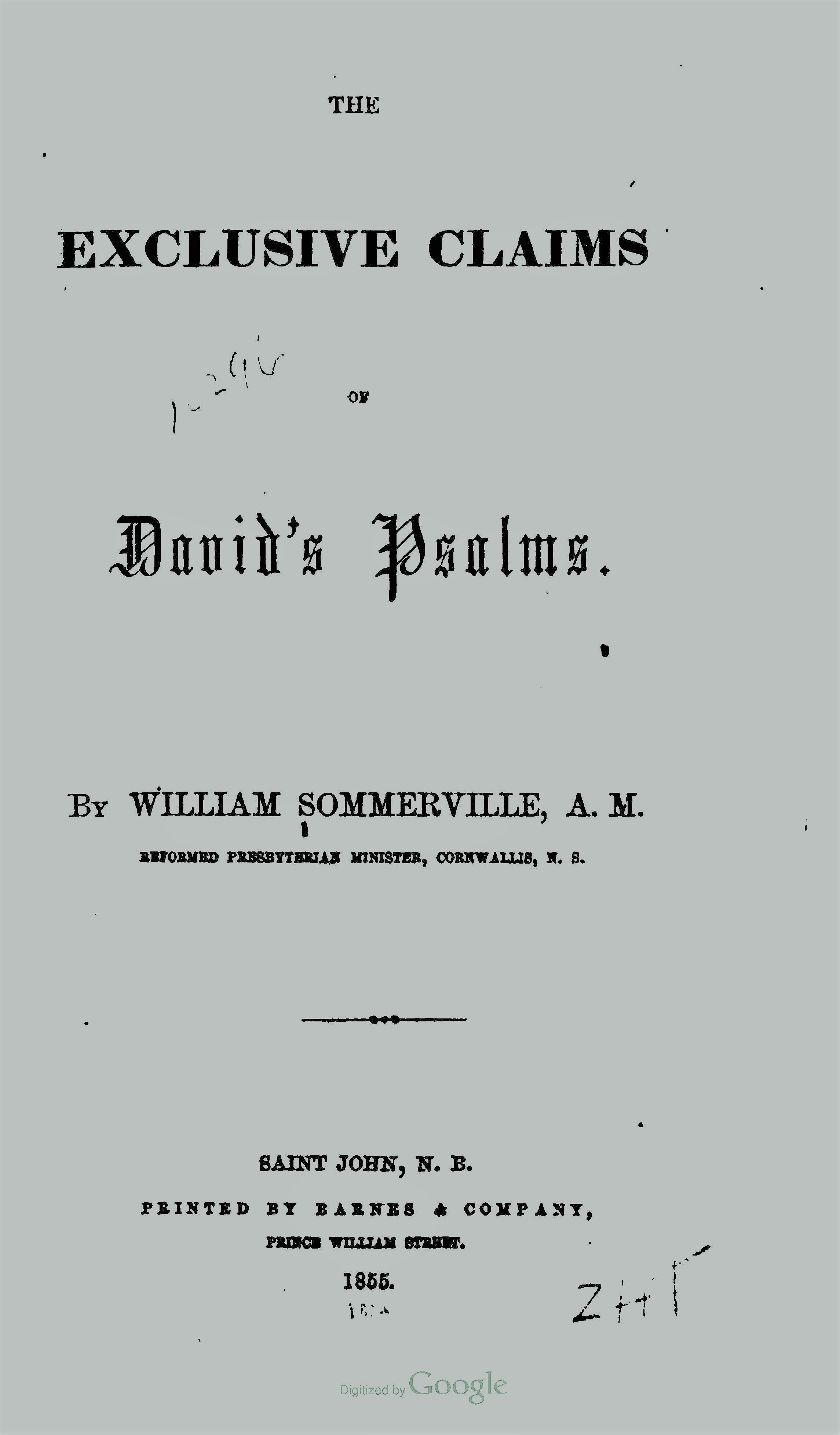 Sommerville, William, The Exclusive Claims of David's Psalms Title Page.jpg
