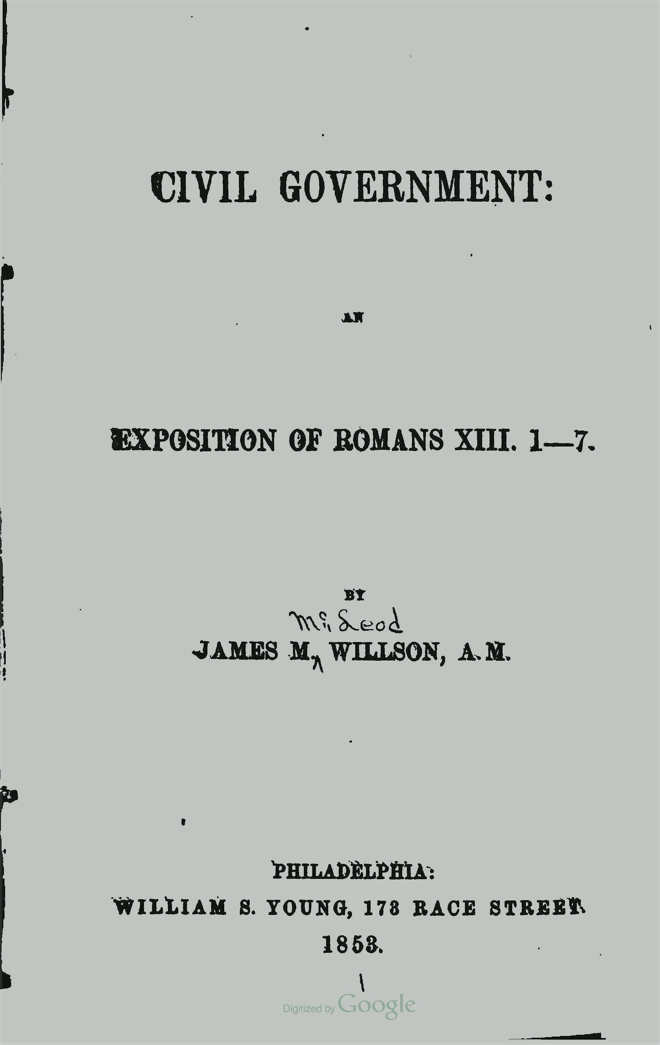 Willson, James McLeod, Civil Government Title Page.jpg