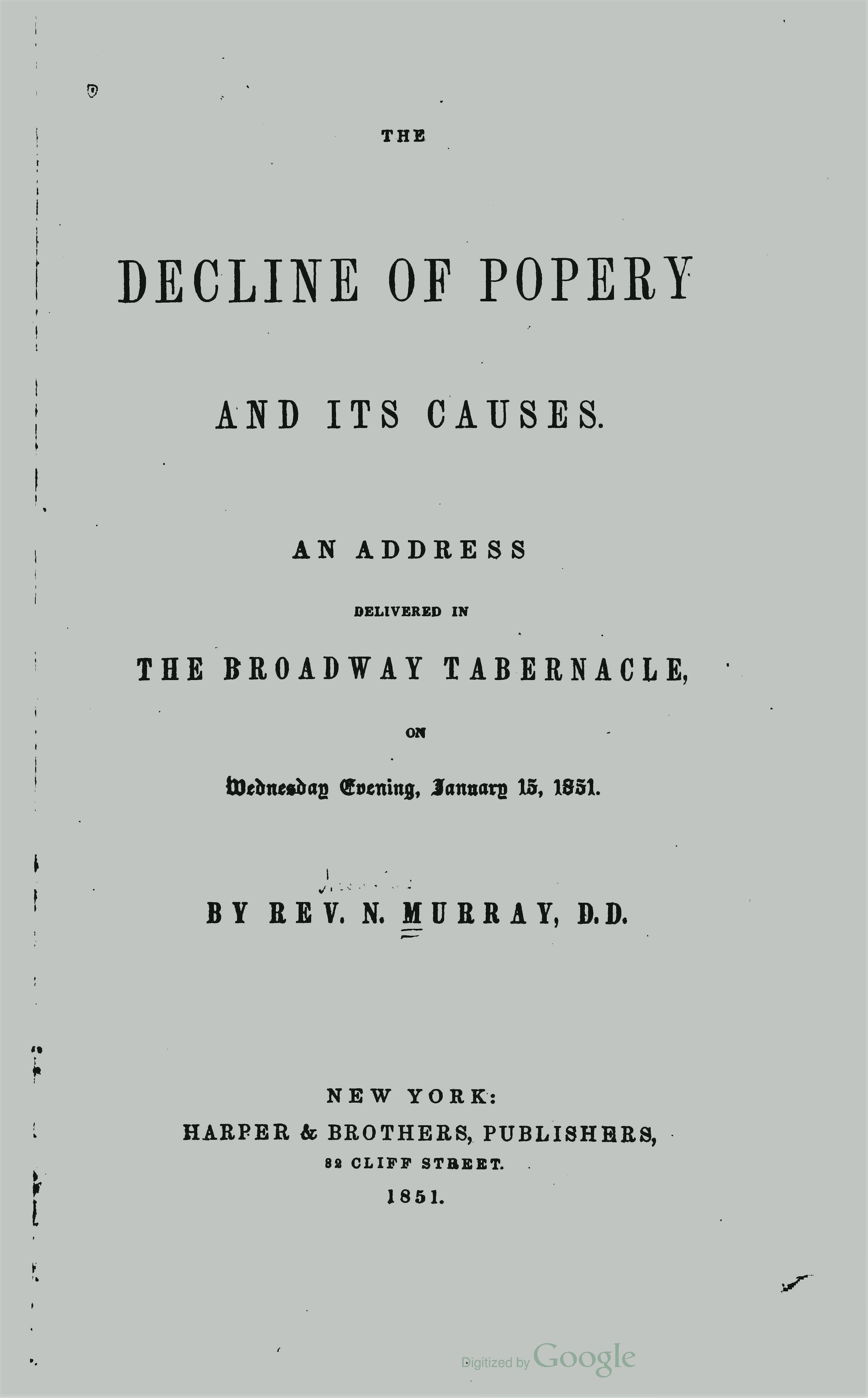 Murray, Nicholas, The Decline of Popery and Its Causes Title Page.jpg